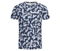 Print T-Shirt dunkelblau / weiß