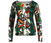 Pullover grün / orange / weiß