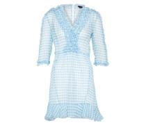 Kleid 'silk' hellblau / weiß