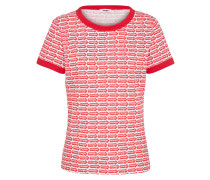 T-shirt 'ringer' rot / weiß