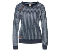 Sweatshirt 'Daria Zig Zag' marine / weiß