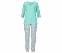 Pyjama aqua / graumeliert / koralle