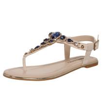 Sandale mit Strasssteinen beige / blau