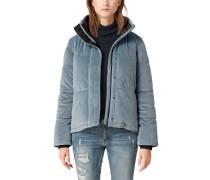 Puffer Jacket aus Samt taubenblau