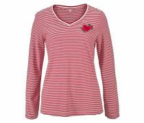 Langarmshirt rot / weiß