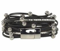 Wickelarmband schwarz / silber