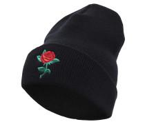 Beanie 'Rose' grün / rot / schwarz