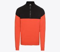 Pullover 'troyer Blocked' orange / schwarz