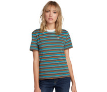 T-Shirt 'Heywood' türkis / braun