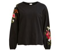 Blumenmuster Pullover schwarz