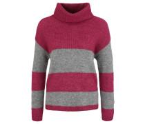 Pullover 'rollneck Stripes' grau / rot