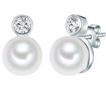Perlen-Ohrstecker mit Süßwasser-Zuchtperlen und Zirkonia