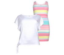 Shirtkleid mischfarben / weiß
