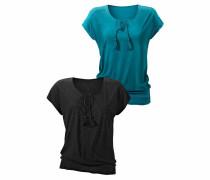 T-Shirts (2 Stück) türkis / schwarz