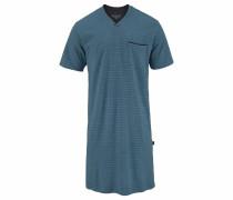 Herren Nachthemd pastellblau / schwarz