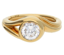 Damen Fingerring 925 Silber Gold Glamour Solitaire Esrg92036B