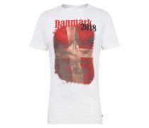 T-Shirt hellbraun / rot / weiß
