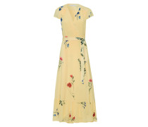Kleider Wrap Dress Cap Sleeve Volant Gelb