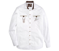 Trachtenhemd mit Krempelärmel weiß