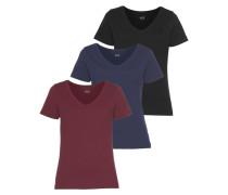 T-Shirt navy / bordeaux / schwarz