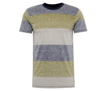 T-Shirt 'Nishan' beige / dunkelgrau / grün