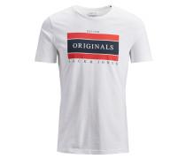 T-Shirt hellrot / schwarz / weiß