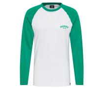 Shirt 'Baseball' smaragd / weiß