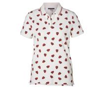 Polo-Shirt dunkelrot / perlweiß