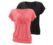 T-Shirts (2 Stück) lachs / schwarz