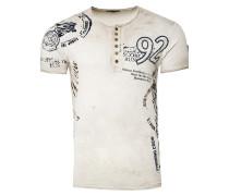 T-Shirt mit Knopfleiste beige
