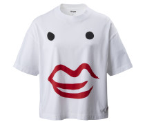 'the Kiss Face' Boxy T-Shirt weiß / rot
