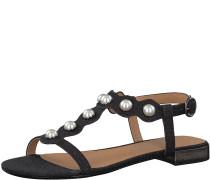 Sandale mit Perlen schwarz