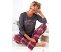 Pyjama mit karierter Flanellhose & bedrucktem Shirt