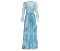 Abendkleid Zola blau print hellblau
