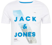 T-Shirt 'ojeep' blau / grau / weiß