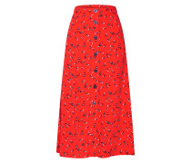 Rock 'button Thru Midi Skirt' rot