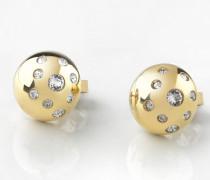 Ohrringe 'Pompom' gold / transparent