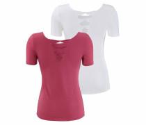 T-Shirts (2 Stück) beere / weiß
