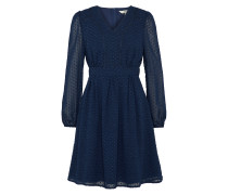 Kleid in Chiffon-Optik 'Dobby Spot' navy