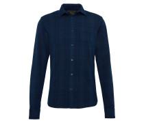 Kariertes Hemd 'Ams blauw slim fit indigo oxford check shirt'