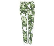 Verkürzte Hose mit Blätterdruck mischfarben