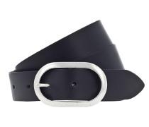 Gürtel 'Oval 3cm' schwarz / silber