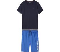 Pyjama blau / navy / weiß