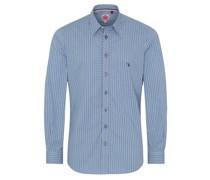 Trachtenhemd 'Norman' weiß / blau
