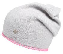 Mütze mit Uni Stiching grau / pink