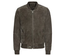 Jacke 'slhmax Suede Bomber W' oliv