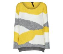 Pullover gelb / graumeliert / weiß