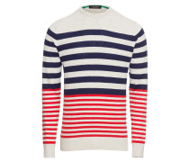 Pullover 'Cotton melange crewneck pullover with yarn-dyed stripe'