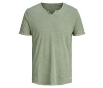 Split-Neck T-Shirt grünmeliert