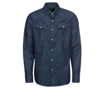 Hemd '3301 slim shirt l\s' blue denim